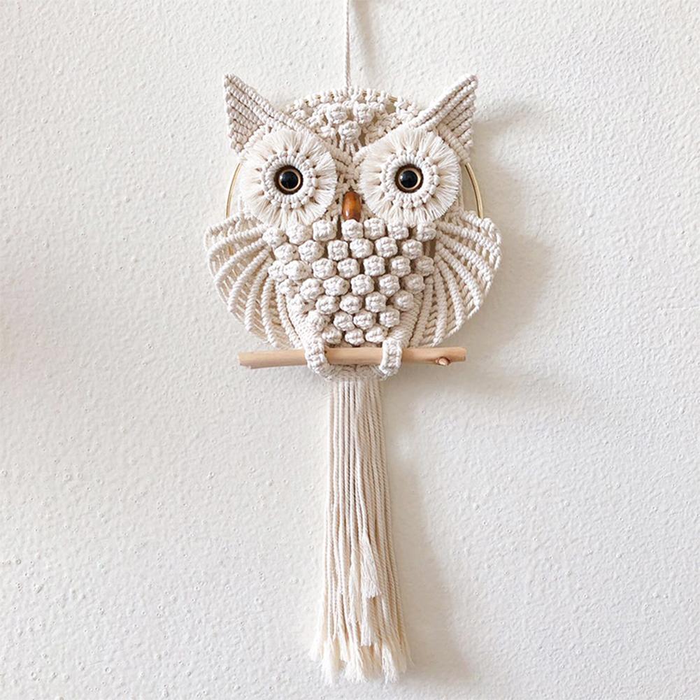 Bohemia Style Owls Dream Catchers Handmade Cotton Macrame Wall Hanging Macrame Kids Room Decoration Owl Tapestry