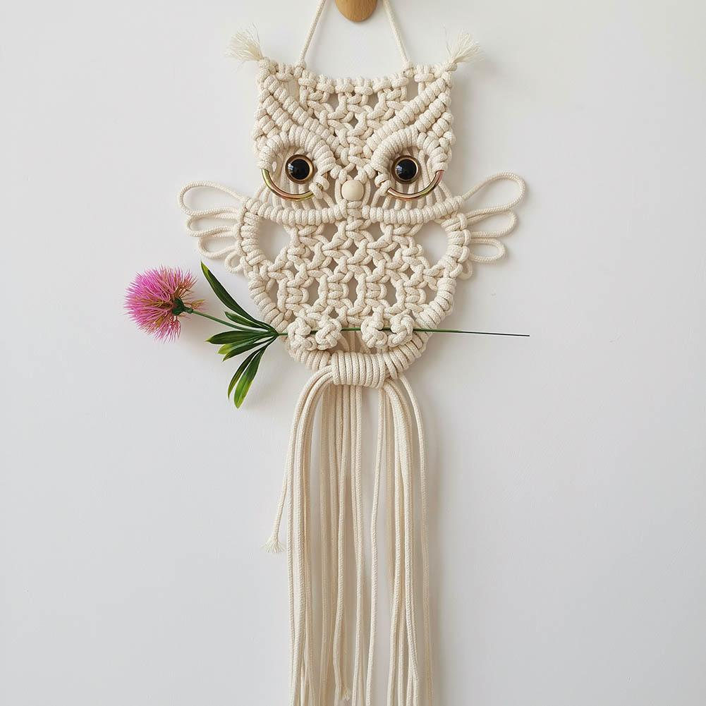 Owls Macrame Woven Wall Hanging Dreamcatchers Bohemian Tapestry Wall Art Decor For Apartment Dorm Room Decoration