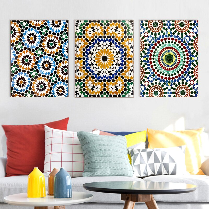 Moroccan Wall Art Canvas Painting Boho Decor Moroccan Patterns Travel Photography Posters and Prints Pictures Living Room Decor