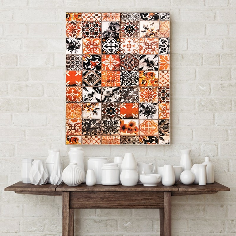 Moroccan Pattern Print Mosaic Wall Art Canvas Painting Terracotta Burnt Orange Poster Ethnic Oriental Decoration Picture