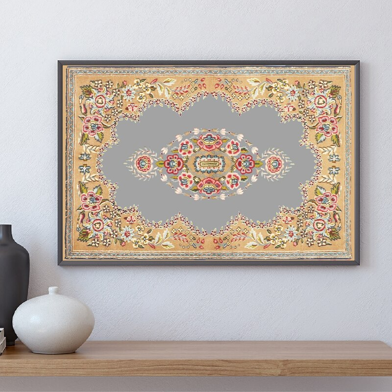 Persian Carpet Pattern Abstract Posters & Prints Wall Pictures Persian Textured Folk Art Watercolor Painting Boho Wall Art Decor