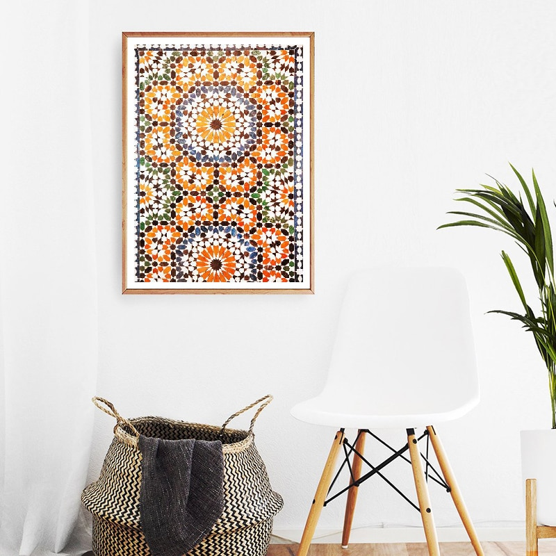 Wall Art Canvas Painting Moroccan Decor Print Terracotta Ornament Poster Ethnic Burnt Orange Persian Wall Picture Decoration