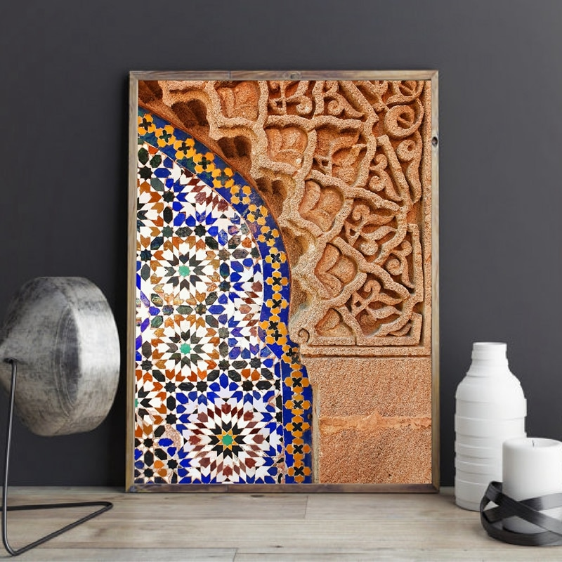 Moroccan Wall Art Canvas Print Marrakesh Architecture Poster Boho Wall Decor Terracotta Art Picture Decoration Painting