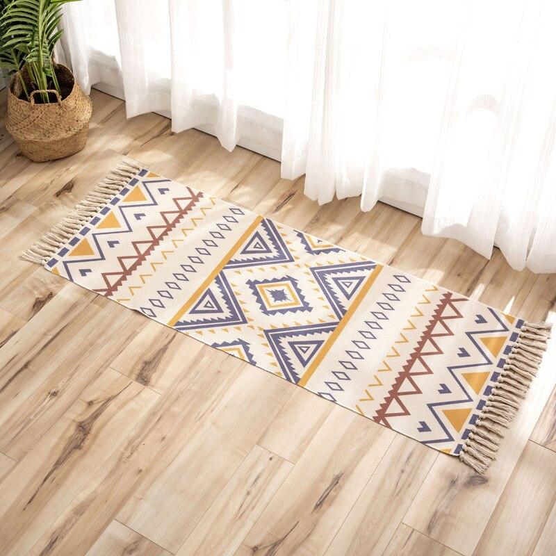 Retro Boho Cotton Linen Tassel Woven Carpet Floor Mat Door Bedroom Tapestry Decorative Blanket Tea Living Room Carpet area rug