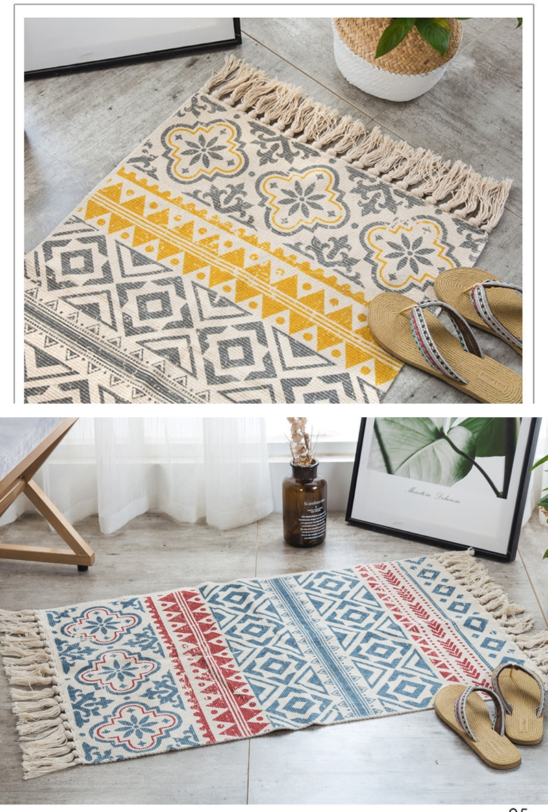 Bohemian Tassel Simple Cotton Linen Retro Ethnic Style Carpet Floor Mat For Living Room Bedroom Bedside Small Prayer Rug 60x90cm