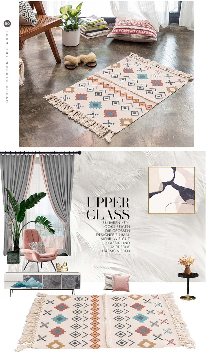 Cotton Linen Chenille Floor Mat Rug sofa Coffee Table Foot Pad Manual Tassels Door Carpet Geometric Washed For Home Living Room