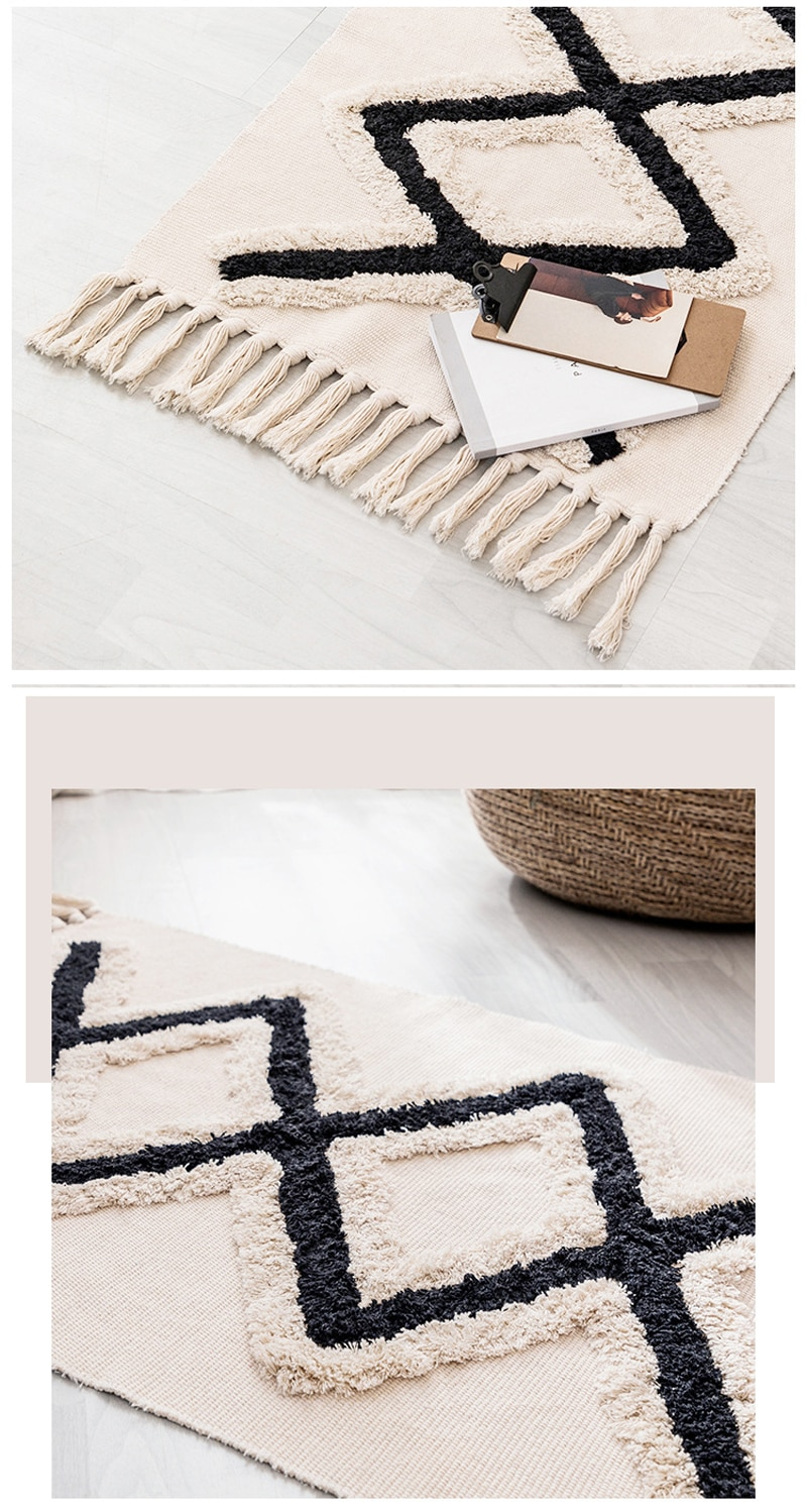 Morocco Cotton Hand Woven Printed Area Rugs Tufted Tassels Throw Rug Machine Washable Bath Mat Doormat Carpet Tapete Para Sala
