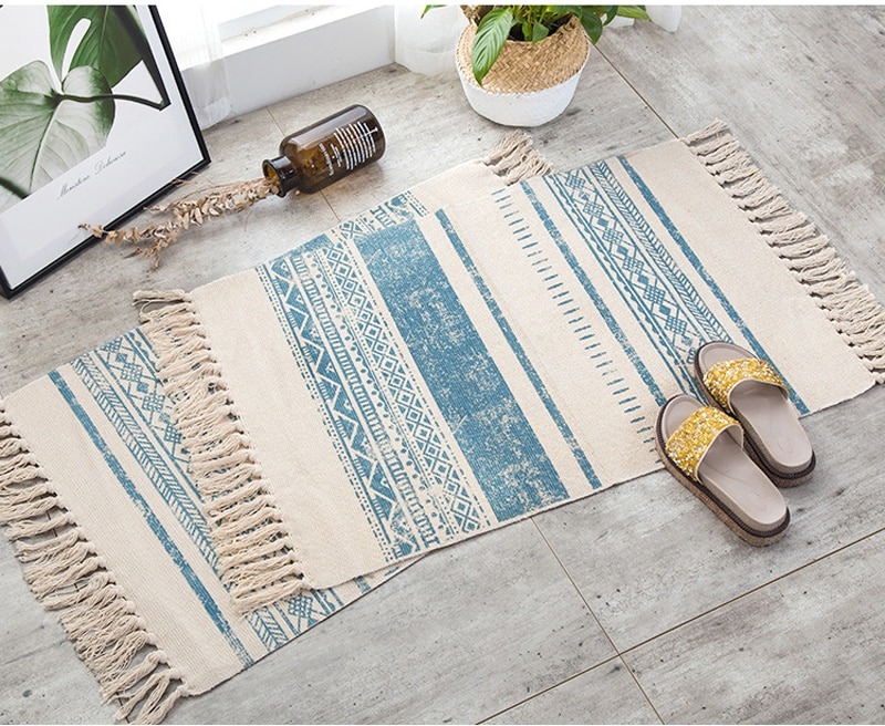 Nordic Cotton And Linen Knit Rug Ethnic Style Carpet Tassel Small Rug Bedroom Kitchen Rugs Mat Boho Washable Home Decoration
