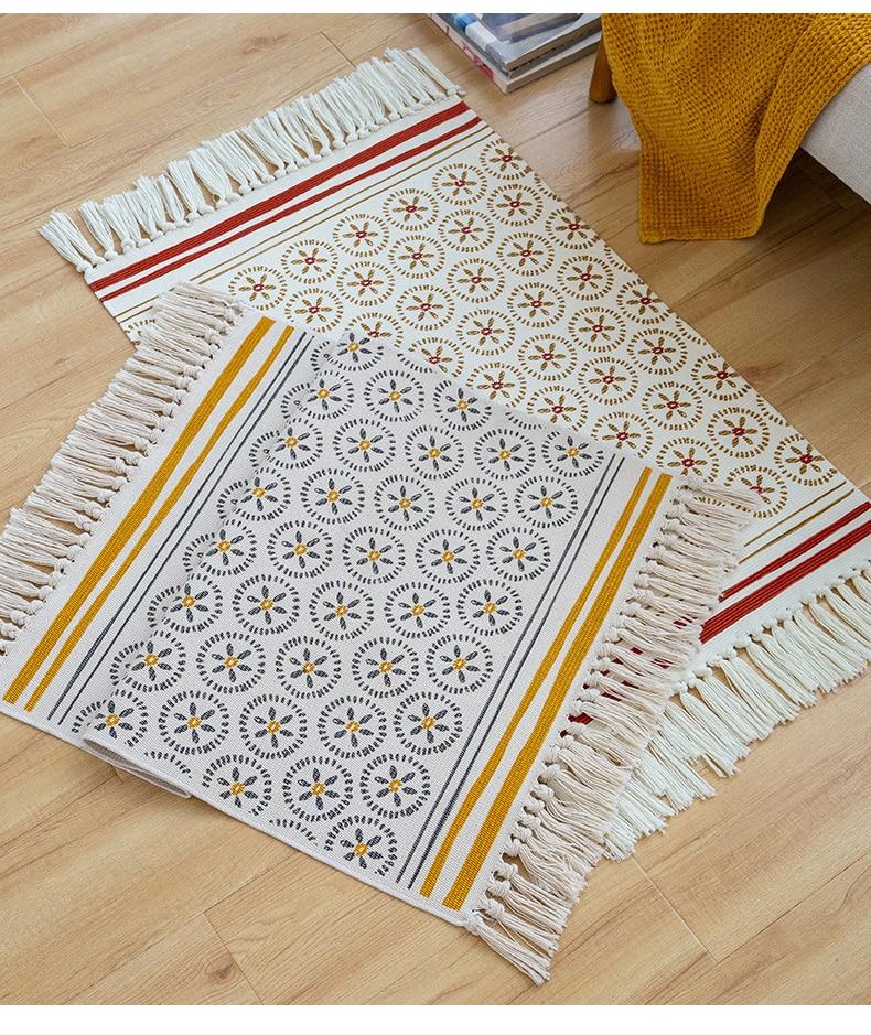 Nordic Cotton And Linen Rug Floor Ethnic Style Carpet Door Tassel Foot Small Rug Bedroom Non-slip Geometric Rug For Living Room