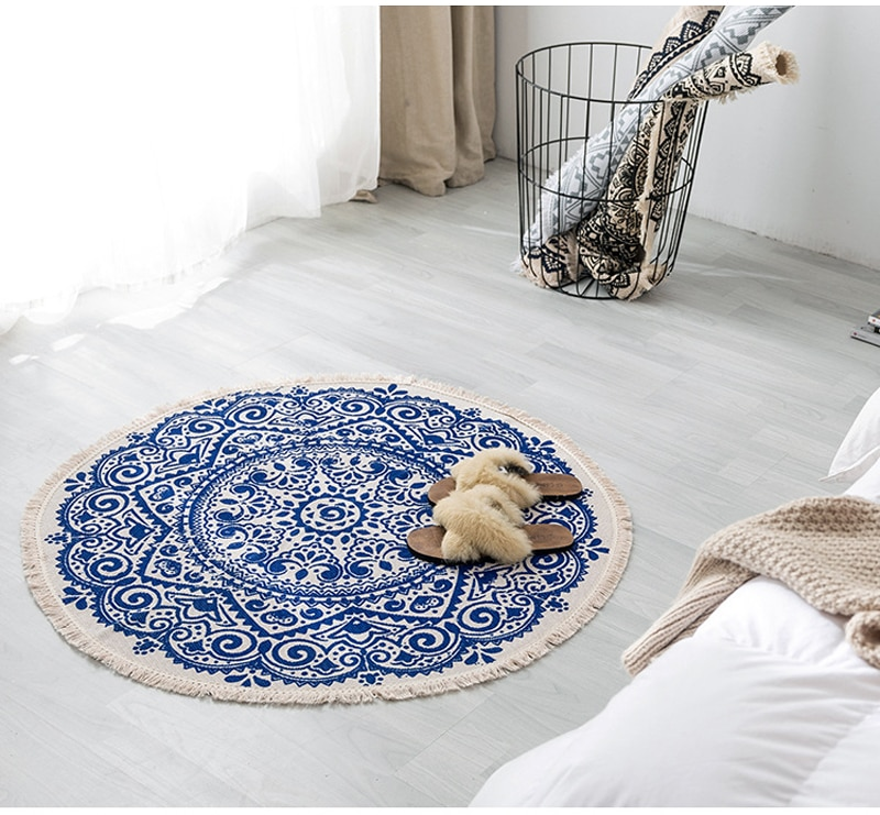 Nordic Modern Minimalist Retro Bedroom Round Rugs For Living Room Sofa Coffee Table Pad Bedside Blanket Foot Pad Kitchen Carpets