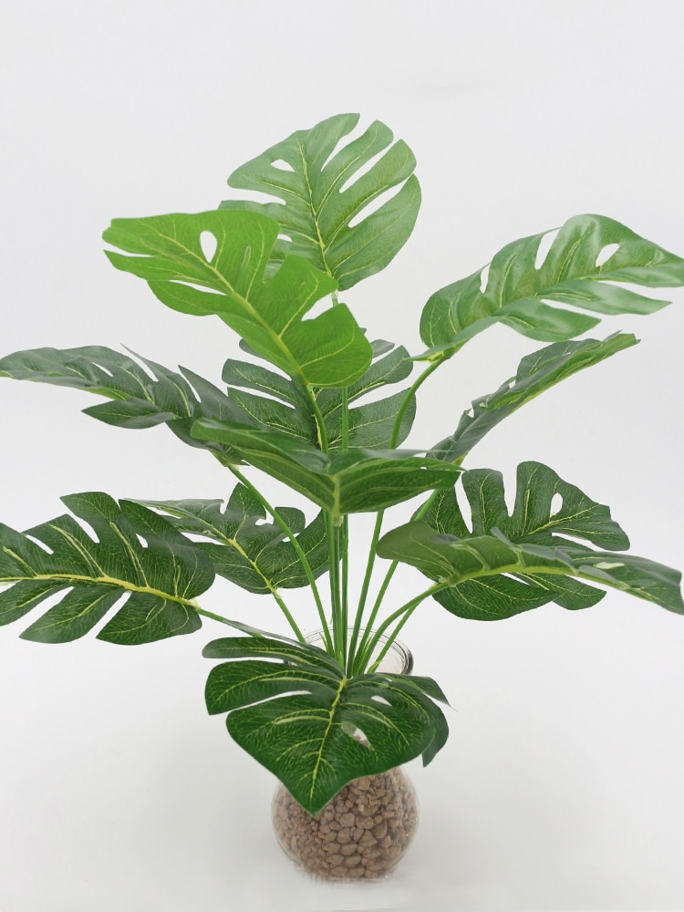 Artificial Plants Green Palm Leaves Monstera Home Garden Living Room Bedroom Balcony Decoration Tropical Plastic Fake Plant Long