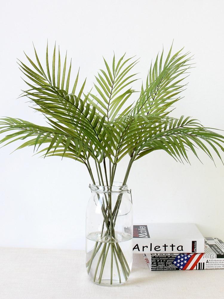 Plastic Artificial Palm Leaf Plants Green Desert Summer Decoration Tropical Fake Plant Garden Home Jungle Party Decor Wedding