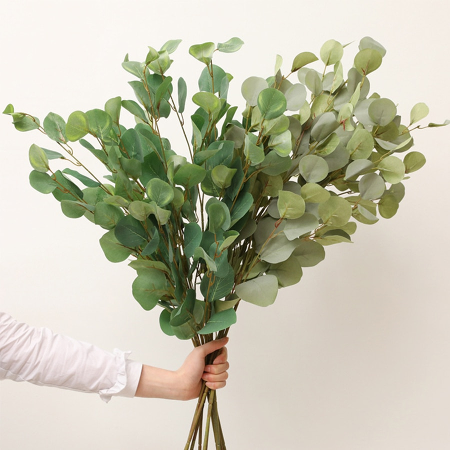 90cm long artificial eucalyptus branch stem green leaves for wedding home diy decoration fake plant for shop decor faux foliage