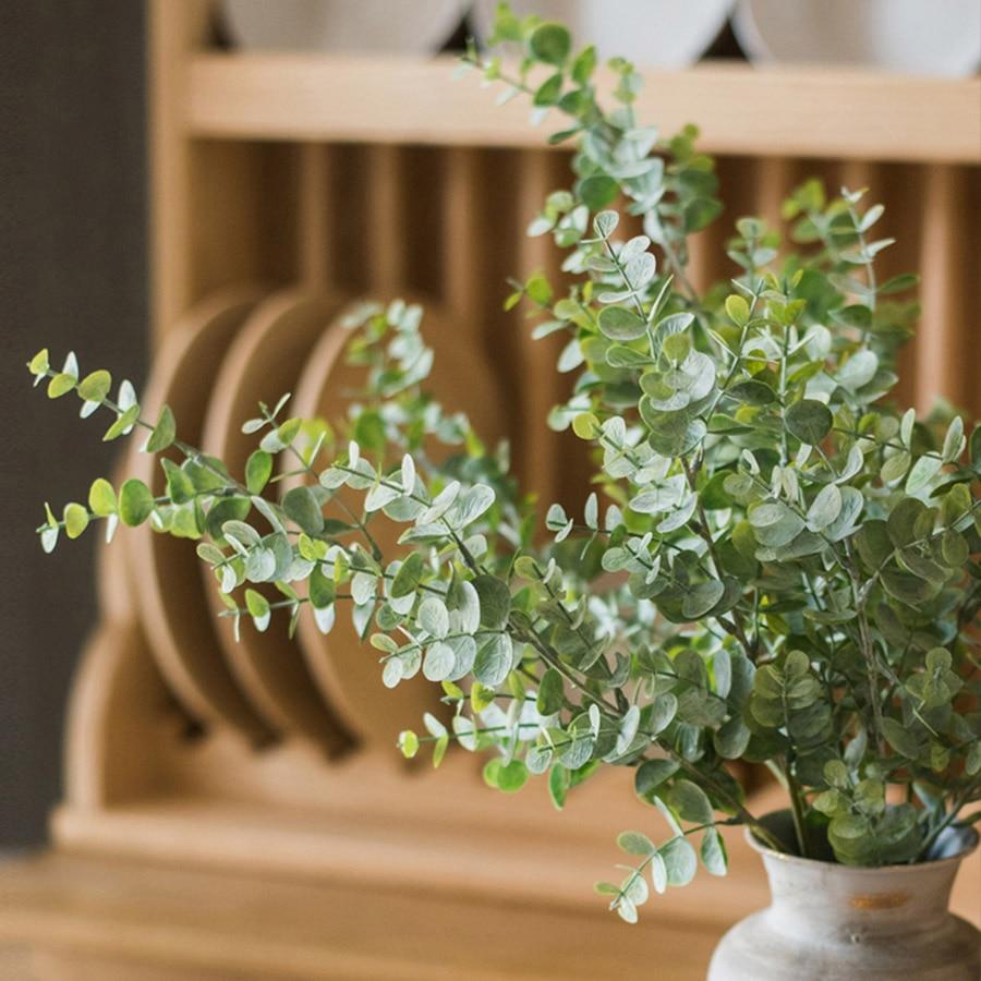69cm long branch plastic eucalyptus artificial plant leaves green faux foliage outdoor garden decoration fake leaf home decor