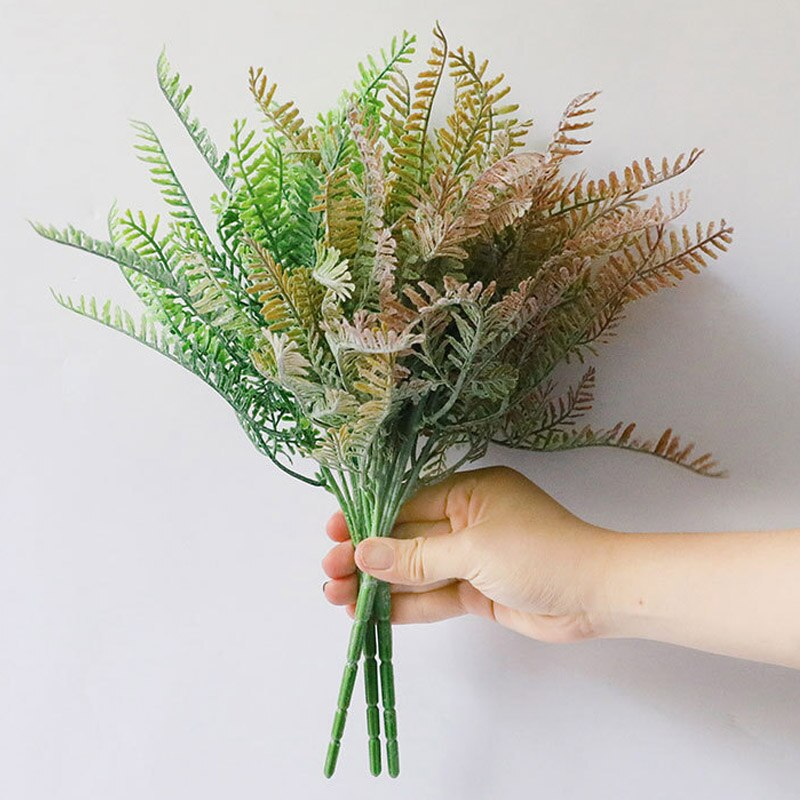 Artificial Plastic Flowers Home Wedding Christmas Decor Bouquet Polish Grass Fake Flower Green Plants Crafts Accessories Leaves