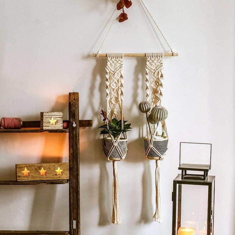 Flower Hanging Baskets Plant Pot Holder Macrame Plant Hanger Jute Rope Braided Craft Vintage Outdoor Decor