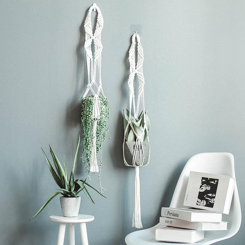 Linen Hanging Basket Flowerpot Macrame Plant Hangers Indoor Outdoor Planter Garden Cotton Rope Weave Planter