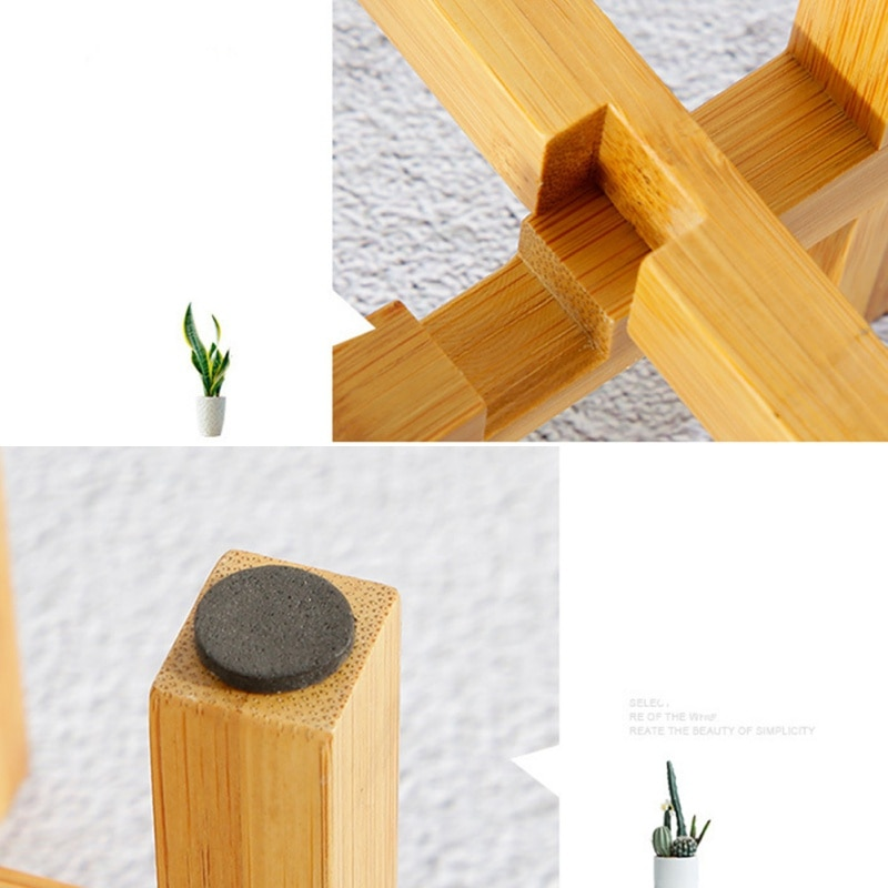 Flower Stand Flower Pot Tray Free Standing Balcony Bamboo Wood Bonsai Plant Holder Home Office Pad Modern Shelf With Foot