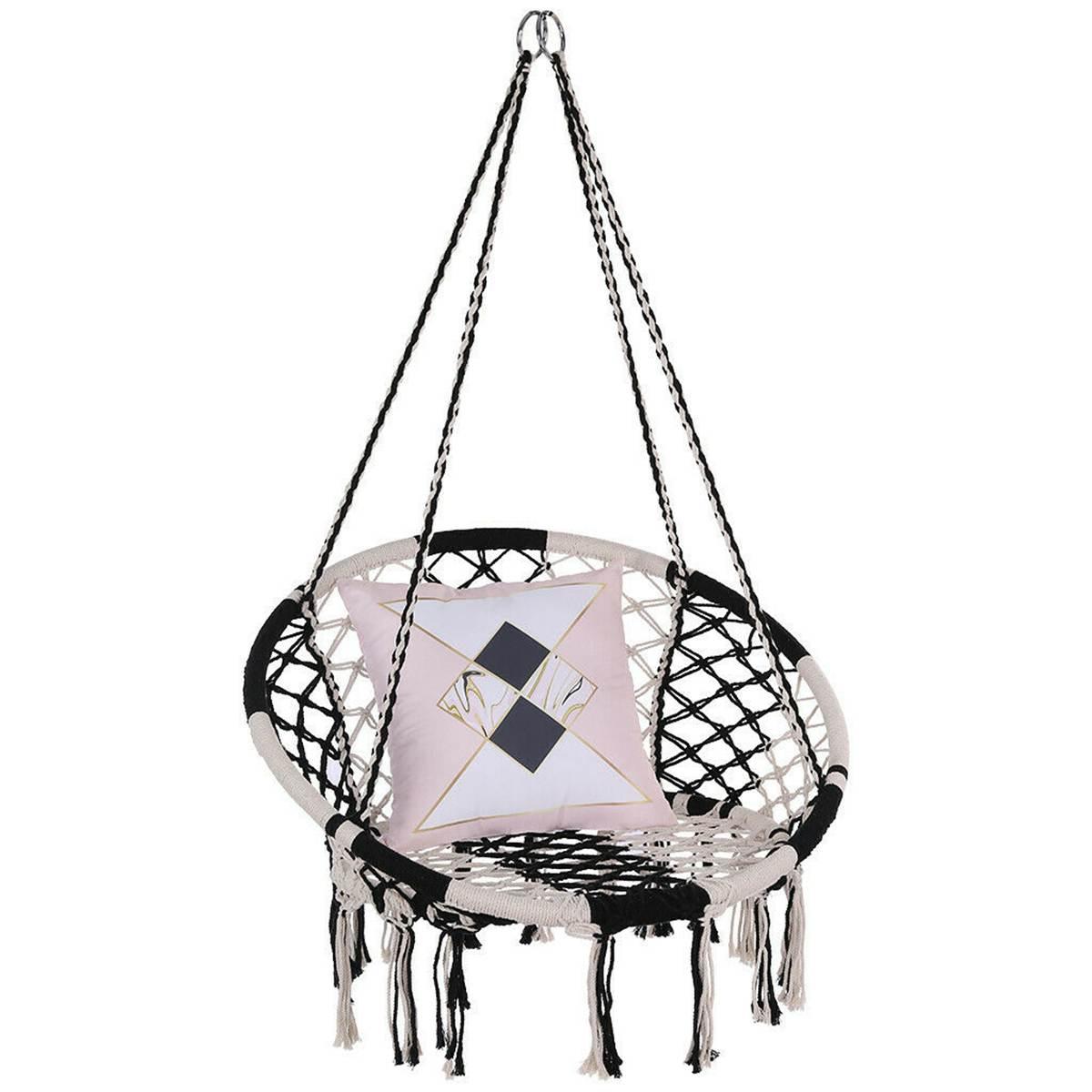 Round Hammock Round Hammock Swing Hanging Chair Outdoor Indoor Furniture Hammock Chair for Garden Dormitory Child Adult