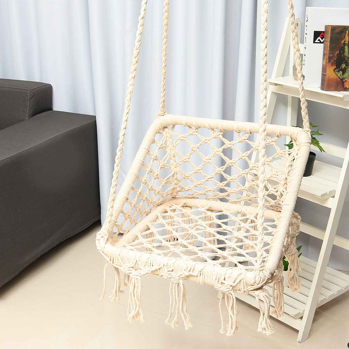 Nordic Hammock Chair Outdoor Indoor Dormitory Bedroom Yard For Child Adult Swinging Hanging Single Rope Safety Chair Hammock