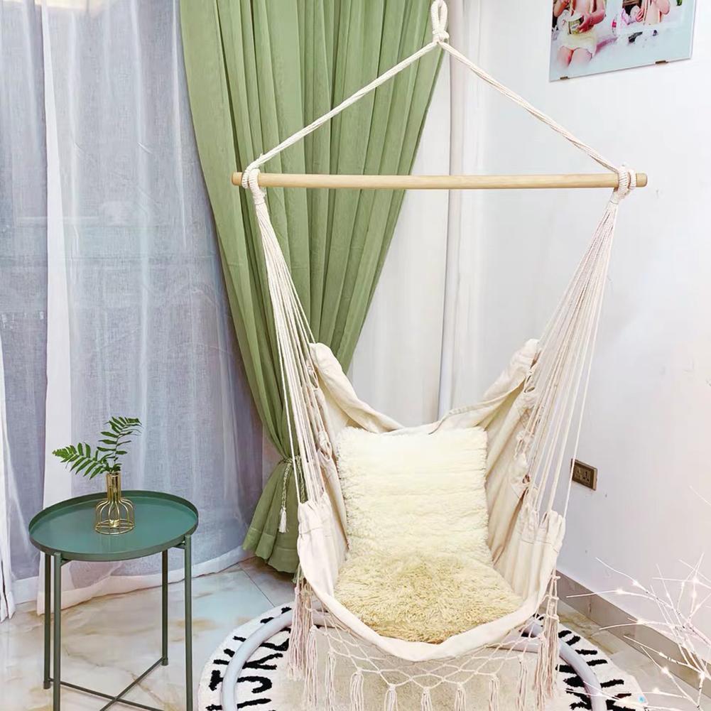 Canvas Swing Hanging Hammock Cotton Rope Tassel Tree Chair Seat Patio Outdoor Indoor Garden Bedroom Safety Hanging Chair