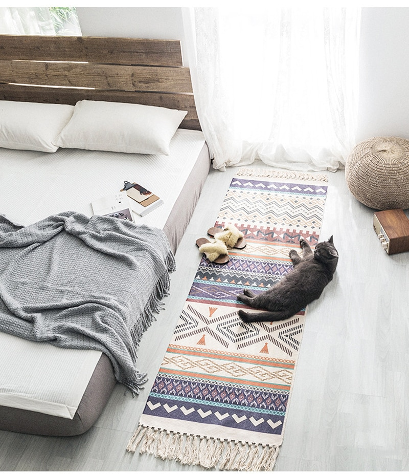 Bohemian Cotton Linen Tassel Woven Carpet Floor Mat Bedroom Tapestry Retro Decorative Blanket Tea Living Room Carpet Area Rug