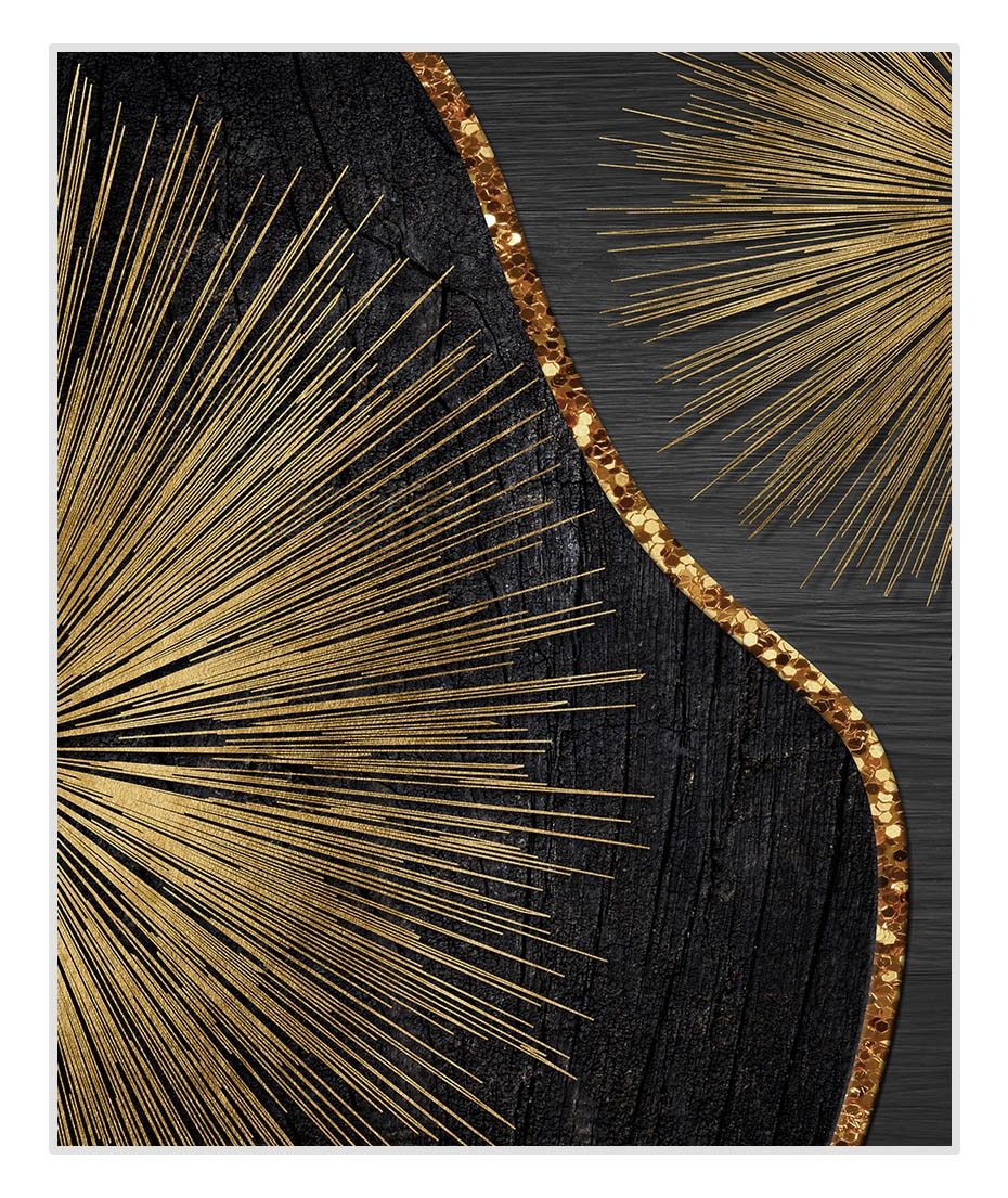 Black Gold Rough Organic Texture of Tree Rings Canvas Poster and Print Paintings Wall Art Pictures for Living Room Home Decor