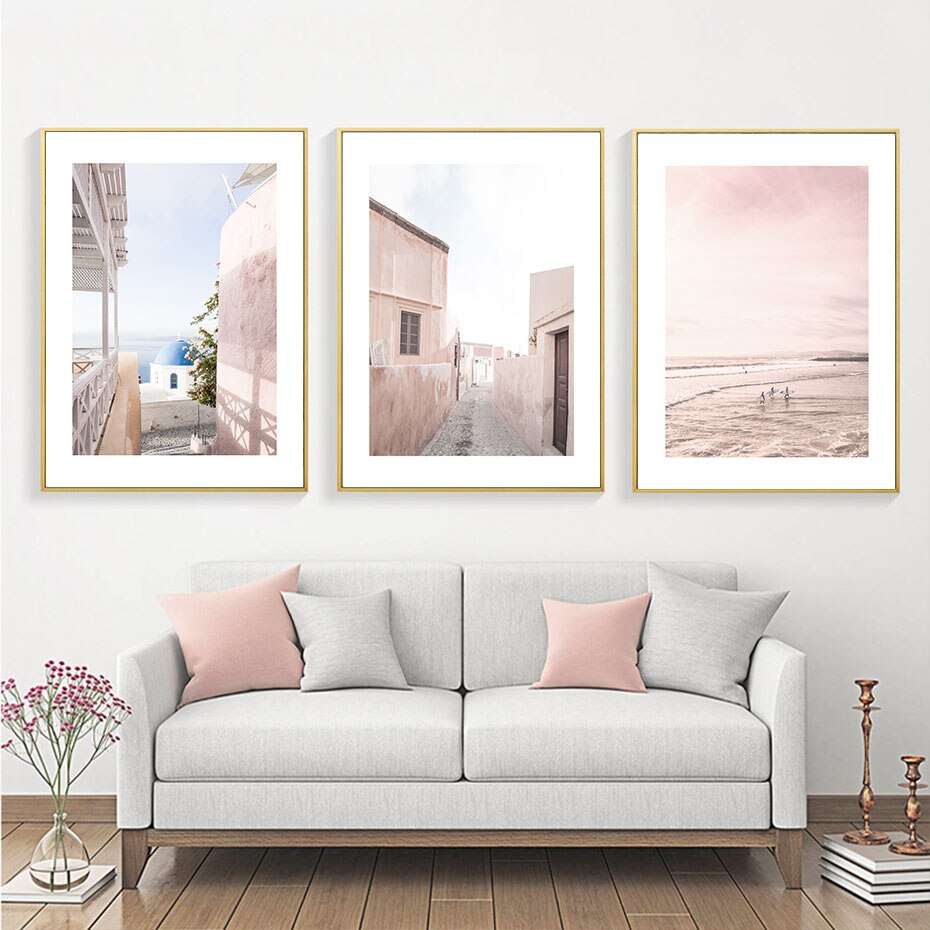 Modern Pink Mediterrane Landscape Wall Art Canvas Painting Posters Prints Picture for Gallery Living Room Interior Home Decor
