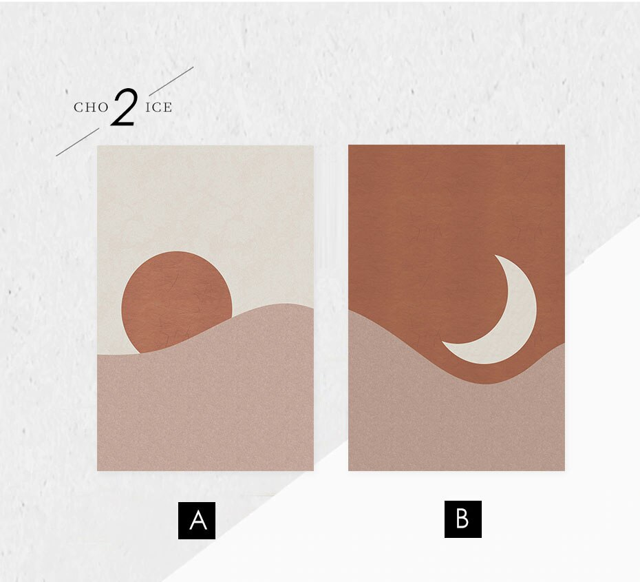 Abstract Landscape Sun and Moon Scene Boho Canvas Prints Painting Wall Art Pictures Posters for Living Room Home Decor NO FRAME