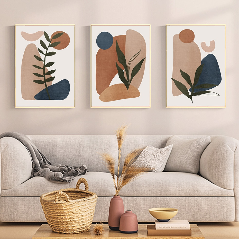 Abstract Geometry Minimalist Green Leaf Bohemia Canvas Painting Wall Art Poster Print Pictures Over the Sofa Home Interior Decor