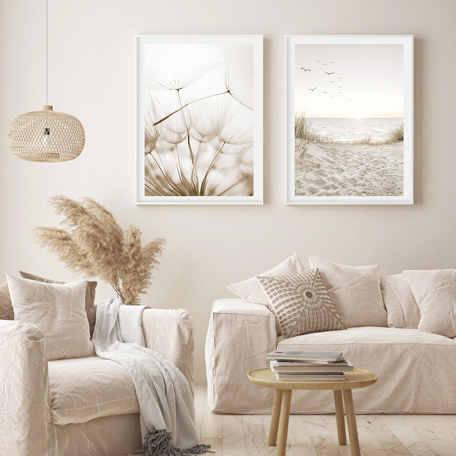 Trendy Botanical Abstract Line Art Seascape Canvas Painting Poster and Print Wall Art Pictures for Living Room Home Decoration