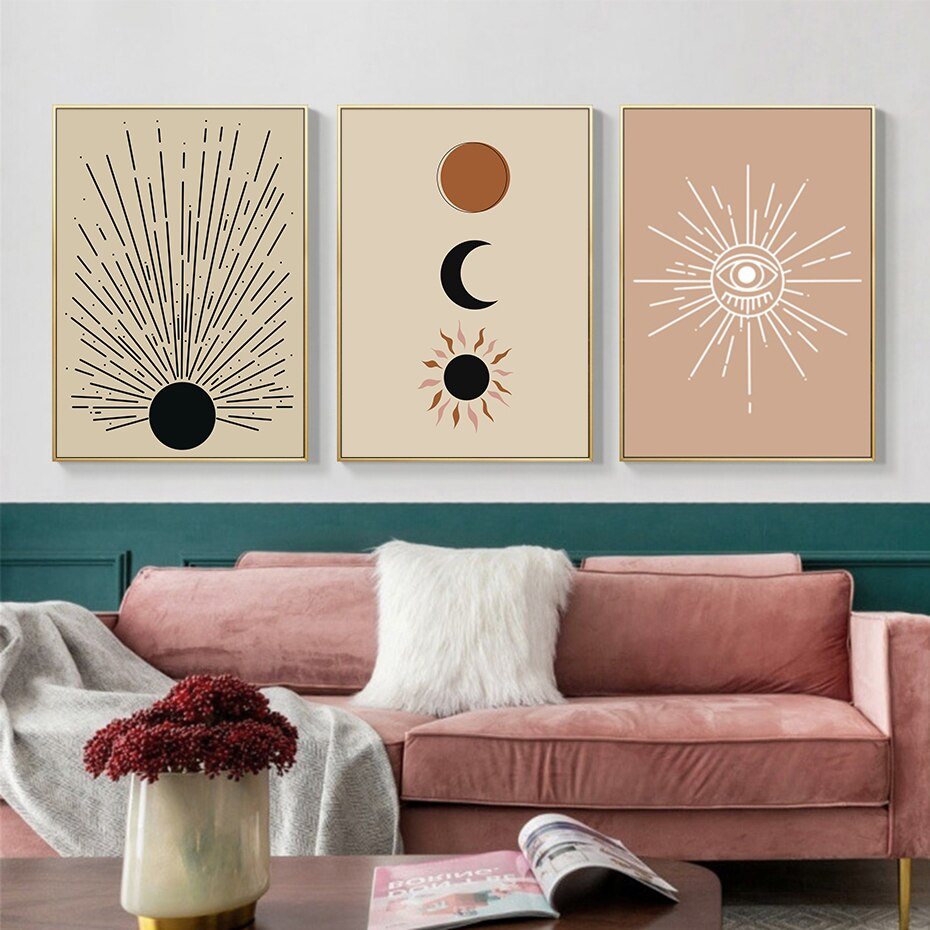 Trendy Sun and Moon Boho Abstract Landscape Wall Art Canvas Poster Painting Print Pictures for Living Room Interior Home Decor