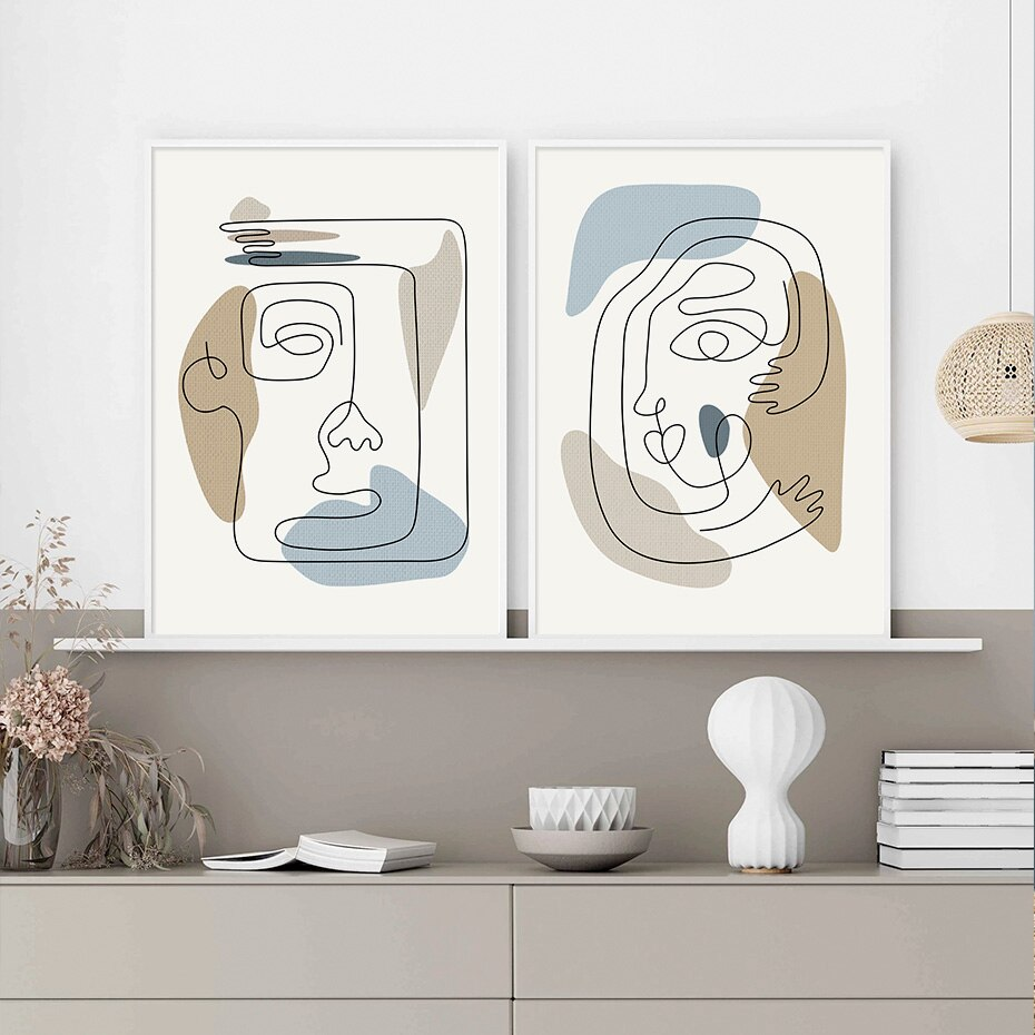 Modern Abstract Boho Style Face and Line Gallery Canvas Paintings Wall Art Prints Poster Picture Living Room Home Decor No Frame