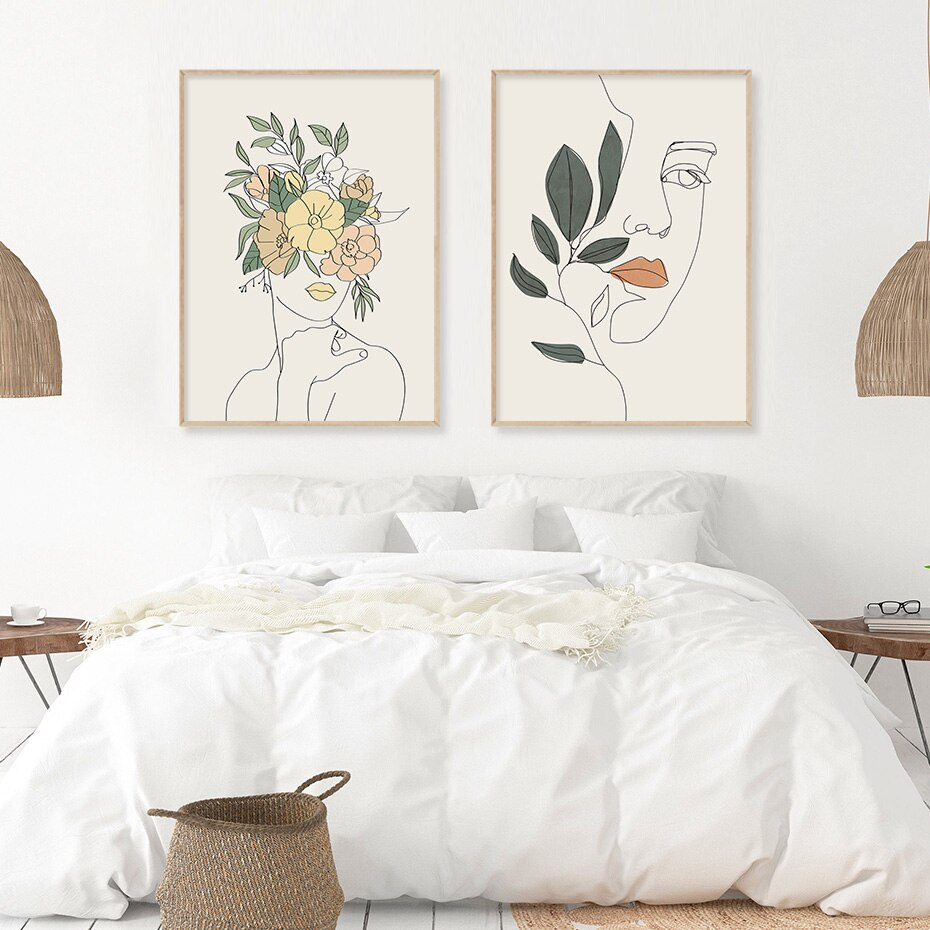 Beautiful Bohemia Fashion Girl Floral Figure Sketch Canvas Paintings Wall Art Pictures Poster and Print for Bedroom Home Decor