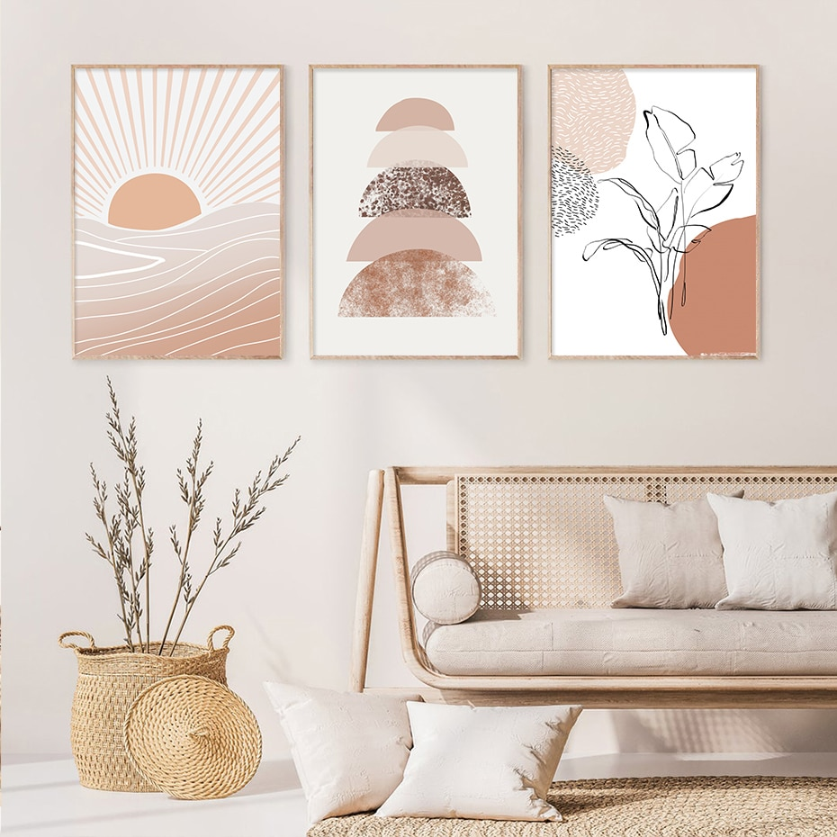 Modern Terracotta Boho Sun Moon Plants Posters Print Geometric Canvas Painting Wall Art Pictures Living Room Home Interior Decor