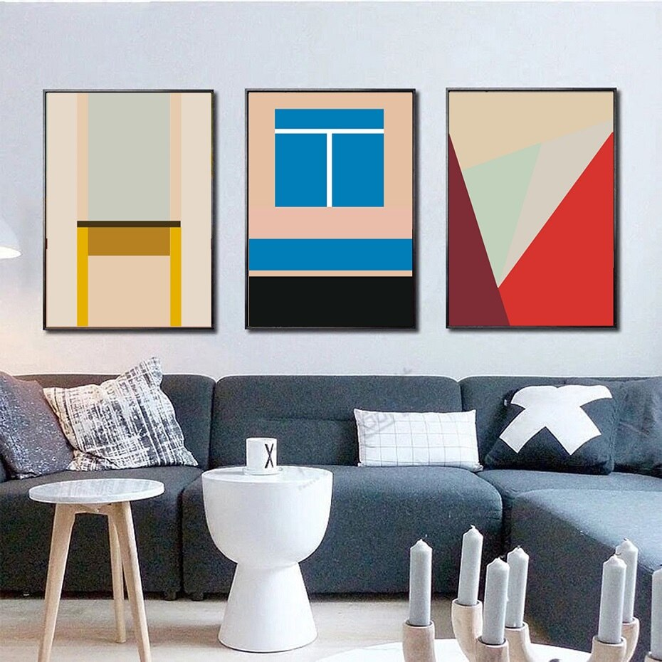 Abstract Colorful Geometric Triangles Posters Canvas Painting Prints Wall Art Pictures Gallery Living Room Interior Home Decor