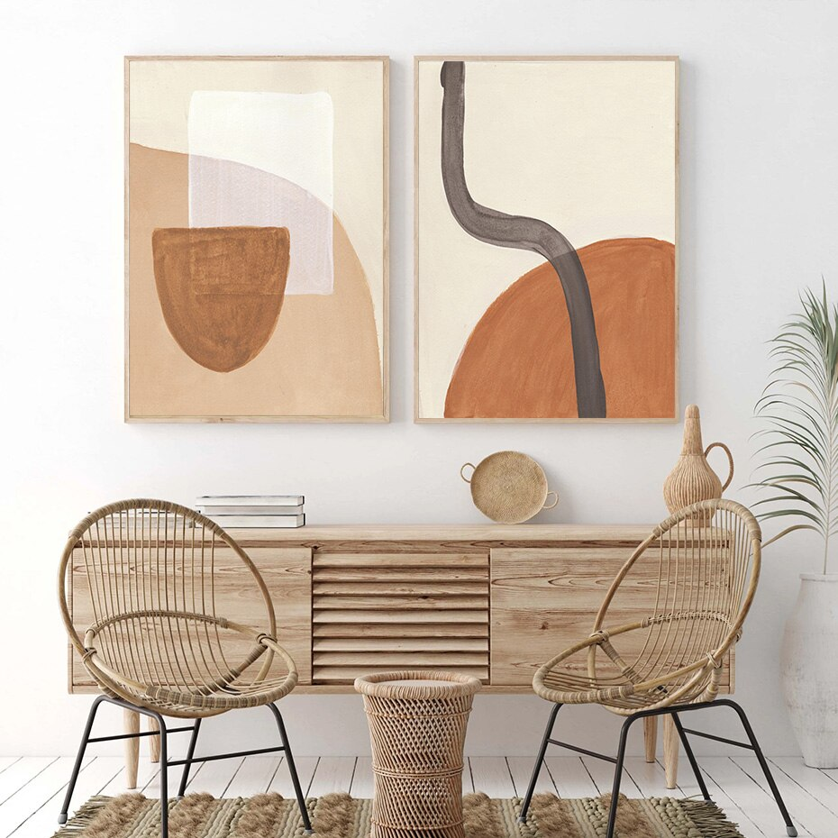 Popular Abstract Boho Geometric Pictures Canvas Painting Gallery Wall Art Posters and Prints for Living Room Home Decoration