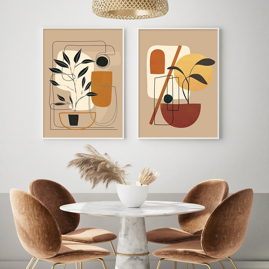 Modern Abstract Camel Color Still Life Leaf Boho Canvas Printings Paintings Wall Art Poster Prints Pictures Bedroom Home Decor
