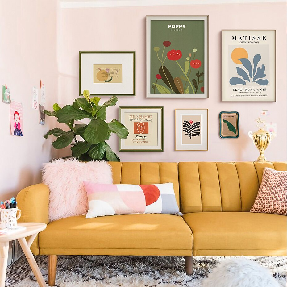 Trendy Vintage Abstract Plants Wall Art Canvas Painting Poster and Print Pictures for Living Room Interior Decoration For Home