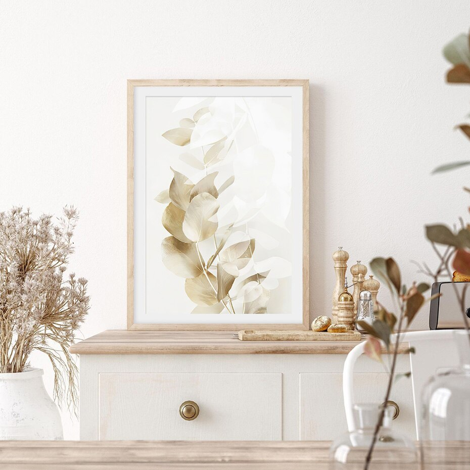 Boho Golden Eucalyptus Leaves Beige Abstract Geometric Wall Art Canvas Painting Poster Print Picture Living Room Home Decoration