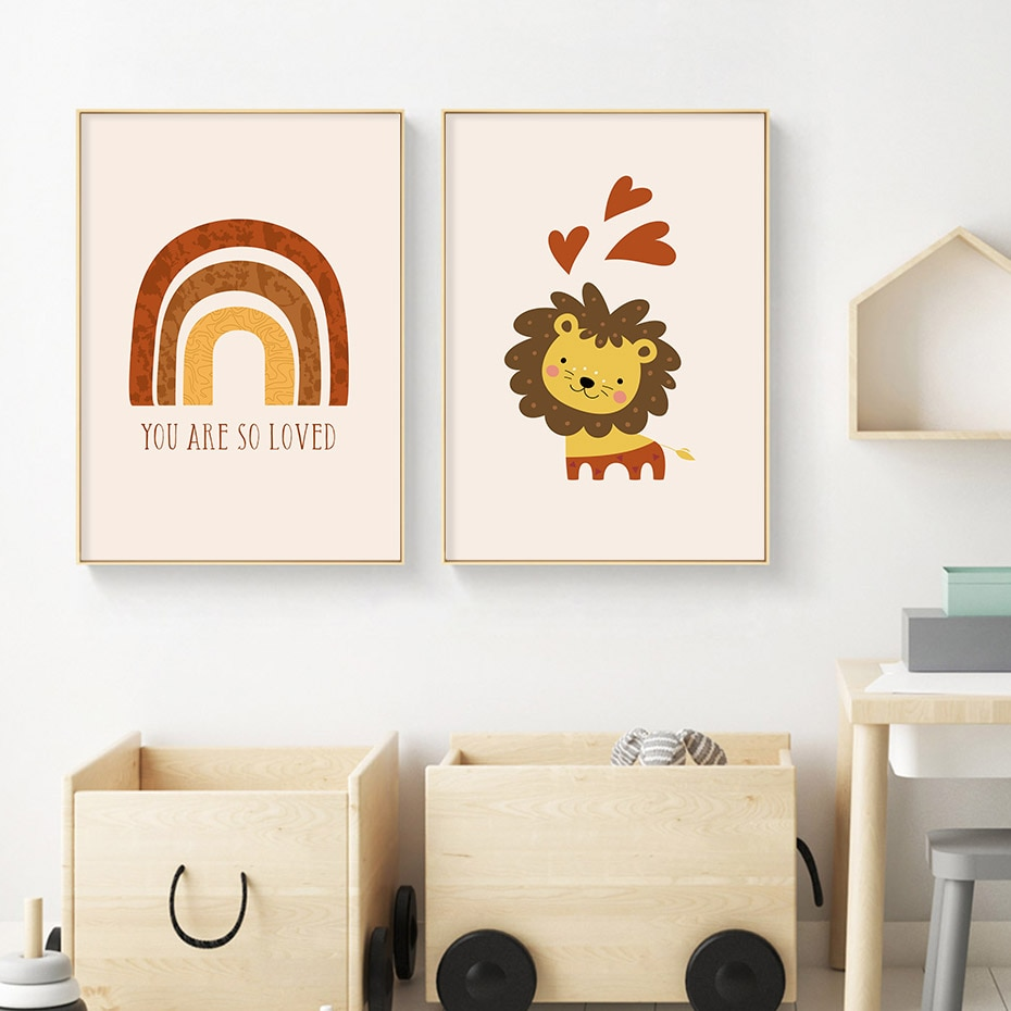 Boho You are so Loved Rainbow Nursery Prints Canvas Painting Wall Art Pictures Posters Prints for Kids Baby Room Home Decoration