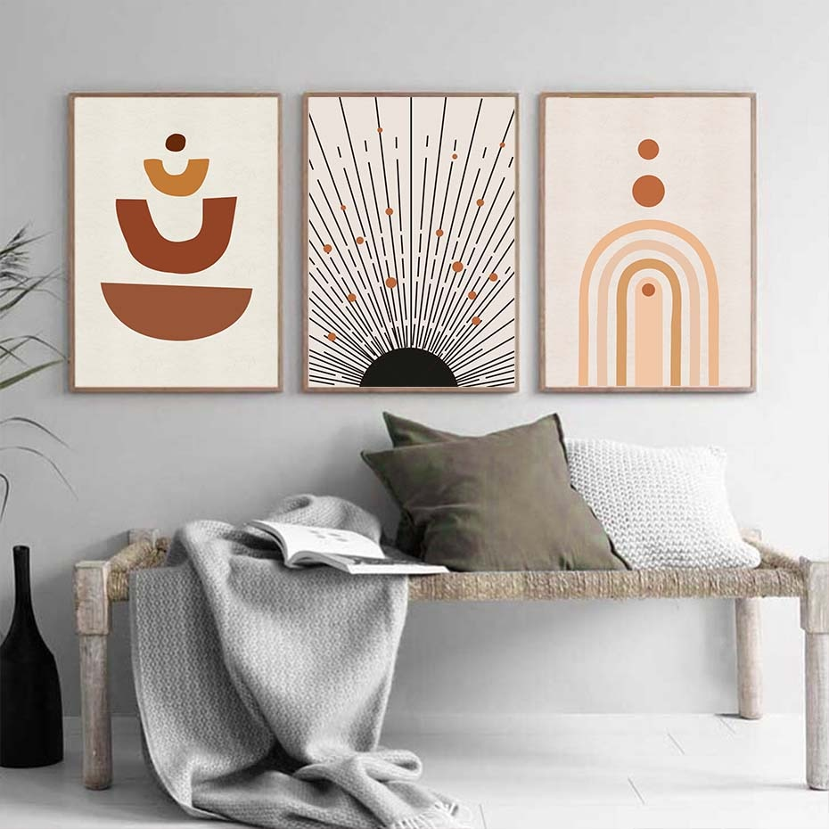 Abstract Geometric Boho Mid Century Burnt Orange Canvas Painting Wall Art Prints Pictures Posters for Living Room Home Decor