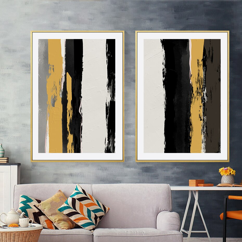 Modern Abstract Black Yellow Oil Pinrt On Canvas Paintings Wall Art Poster Prints Picture for Living Room Office Home Decor