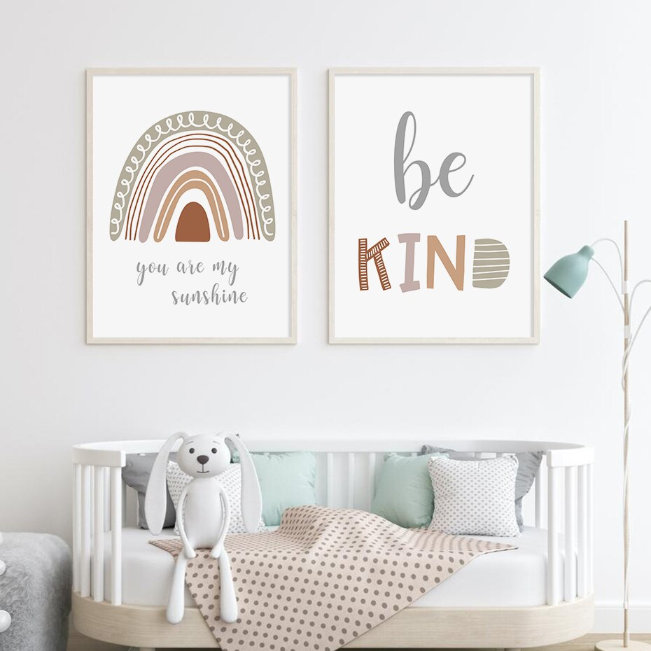 Sweet Heart Rainbow Be Kind Quote Nursery Wall Art Canvas Print Paintings Pictures Poster for Baby Child Room Home Decoration