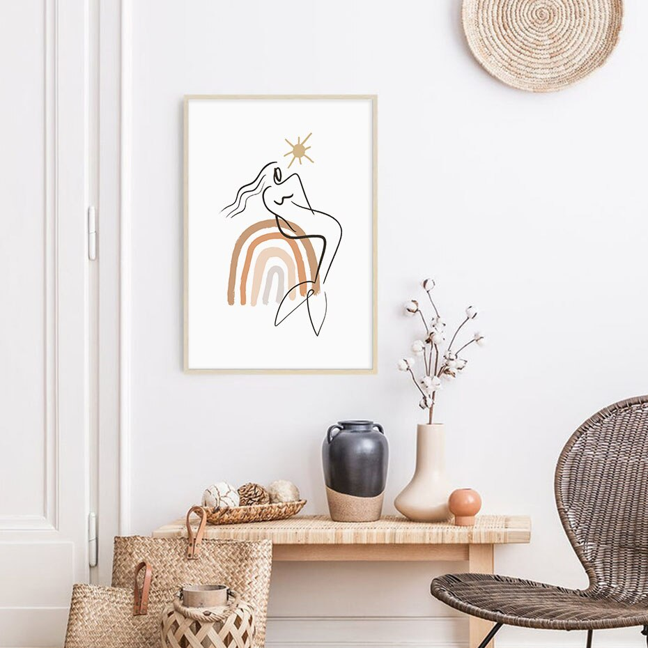 Abstract Geometric Poster Boho Beige Figure Canvas Painting Mural Picture Print Printing Gallery for Living Room Home Decoration