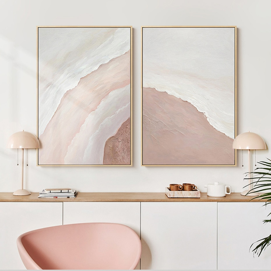 Pink Sand & Waves Triptych Wall Art Poster Prints