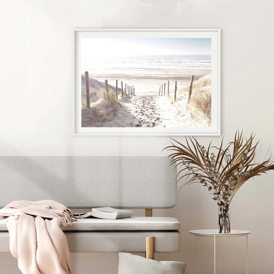 North Sea Dunes Sea Landscape Path Wall Art Canvas Painting Poster and Print Pictures for Living Room Home Interior Decoration