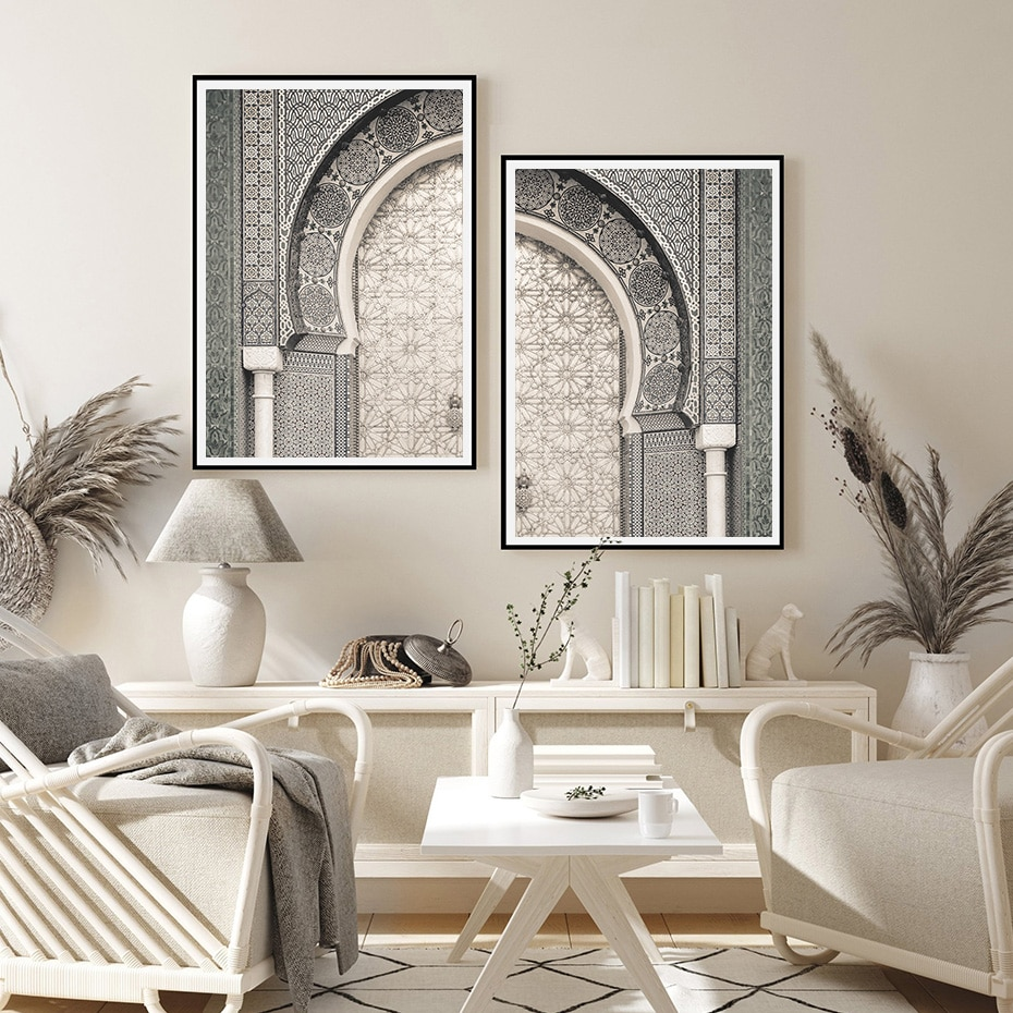 Modern Moroccan Print Marrakesh Door Travel Poster Boho Wall Art Canvas Painting Pictures for Living Room Home Decoration
