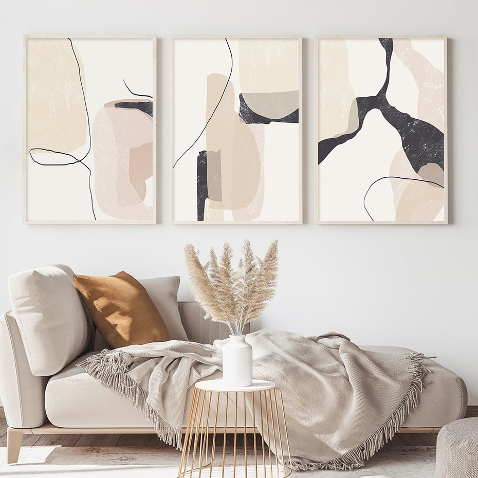 Modern Boho Abstract Beige Black Line Marble Texture Canvas Painting Posters Prints Wall Art Pictures for Living Room Home Decor