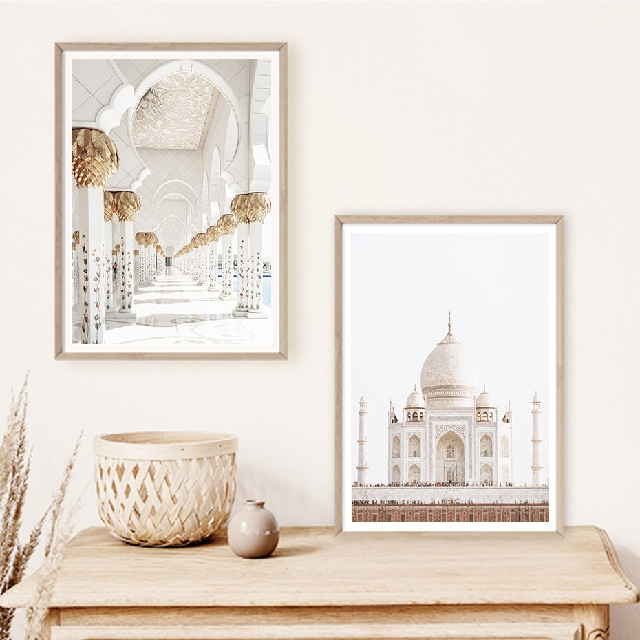 Bohemia Pineapple Leaves Dried Plants Taj Mahal Travel Poster Canvas Painting Wall Art Print Pictures for Living Room Home Decor